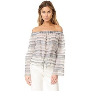 THEORY Odettah-Vall Stripe Cotton Silk Top Sz XS